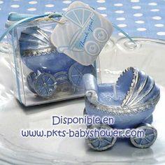 Recuerdos para Baby Shower - Vela Carriola Azul - Disponible en www.pkts-babyshower.com