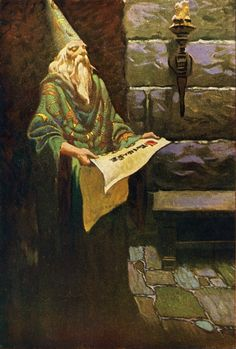 Merlin illustration by Frank Godwin from King Arthur and His Knights, 1927 King Arthur Legend, Legend Of King, Fantasy Wizard, Fantasy Art, Merlin, Celtic, Mists Of Avalon, Roi Arthur, Frederic Remington