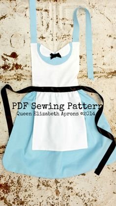 ALICE in Wonderland Sewing PATTERN. Disney Princess inspired Child Costume Apron Dress up Play Birthday Tea Party Fits 2t 3t 4 5 6 7 8 Girls by QueenElizabethAprons on Etsy