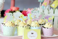 Birthday Bird Cupcakes via Kara's Party Ideas | karaspartyideas.com