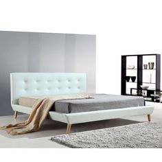Button Tufted King PU Leather Bed Frame in White | Buy New Arrivals