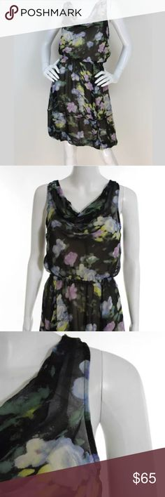 """Tracy Reese Anthropologie Silk Floral Dress, P TRACY REESE Black Floral Sleeveless Silk Chiffon Dress.   Size P Excellent, Pre-owned Condition Nude lining underneath. Cowl draped neck. Elastic waist and hem. Adjustable spaghetti straps. Pullover  Bust: 28"""" Waist: 24"""" Hips: 30""""  Material: 100% Silk. Tracy Reese Dresses"""