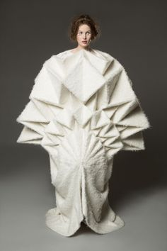 Fashion Meets Art; Wearable Sculpture - dramatic dress form with manipulated 3D patterned structure // Yuki Hagino
