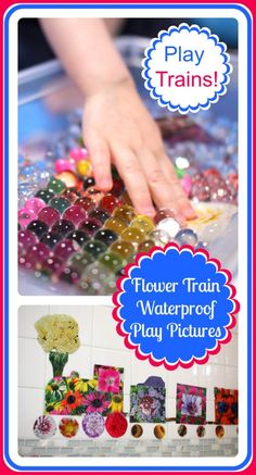 Waterproof Play Pictures: Flower Train @ Play Trains! How to make photo play pieces for water play and messy play, plus a little parenting wisdom gained along the way.