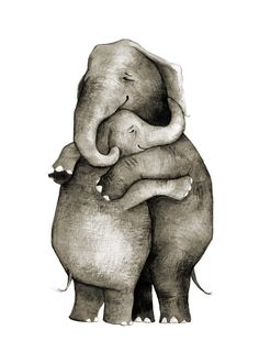 Because elephants hug better. Originally painted using india ink. Printed on 5 x 7 archival quality paper with archival inks. Each print is hand signed.