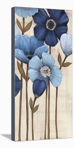 Fleurs Bleues II Stretched Canvas Print by Maja - Acrylic Painting Flowers, Acrylic Painting Canvas, Flowers To Paint, Blue Flowers, Spring Painting, Canvas Prints, Art Prints, Flower Art, Flower Canvas Art