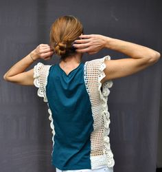 Handmade crochet lace tshirt in teal & white / by SophieCRO