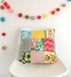 Cushion  Pillow Cover Vintage Patchwork by littleteawagon on Etsy, £13.00