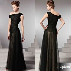 Elegant Black Lace Tulle One Shoulder Formal Evening Dresses Gowns SKU-122885