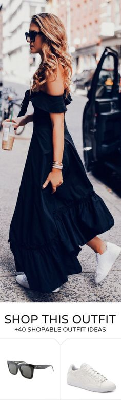 #summer #outfits  Black Off The Shoulder Maxi Dress + White Sneakers 💃🏼💃🏼
