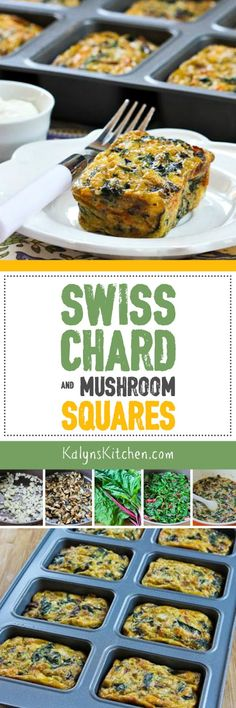 Swiss Chard and Mushroom Squares are a fun idea for breakfast, lunch ...