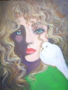 lady with a white dove by dian bernardo