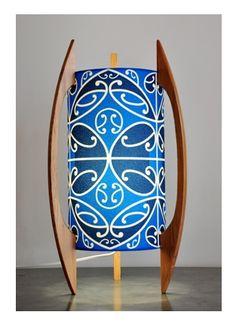Blue Kowhaiwhai table lamp by Borrowed Earth Designs. Blue Design, Design Art, Maori Designs, Earth Design, Maori Art, Kiwiana, Light Shades, Table Lamps, Dreams
