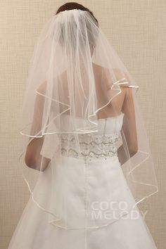 Chic+Two-tier+Ribbon+Edge+Ivory+Elbow+Veil+AC1038