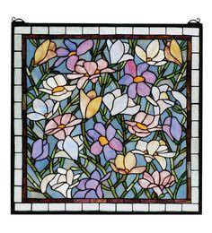 """22""""W X 22""""H Sugar Magnolia Stained Glass Window Item 66278"""