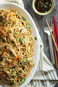 Chicken pasta noodles with an Asian style dressing, peanuts and crunchy vegetables