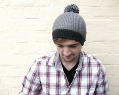 Mens pom pom hat, gray bobble beanie, guys winter accessory, menswear. on Etsy, £22.00