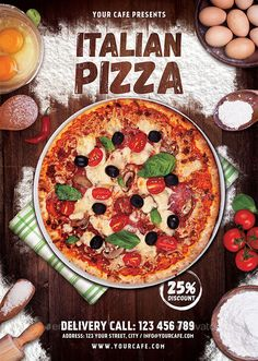 Pizza Flyer — Photoshop PSD #pizzeria #delicious pizza • Available here → https://graphicriver.net/item/pizza-flyer/17805625?ref=pxcr