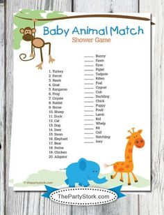 Safari Baby Shower Game: Baby Animal Match, Jungle Theme, Over 100 Games available, Printable Digital INSTANT DOWNLOAD on Etsy, $5.99: