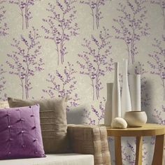 Looking for info and tips on eco-friendly paint and other wall treatments for your home? If you're into green building materials, this is a must read! Plum Wallpaper, Home Wallpaper, Wallpaper Designs For Walls, Wall Treatments, Green Building, Building Materials, Wabi Sabi, Leaf Design, Designer Wallpaper