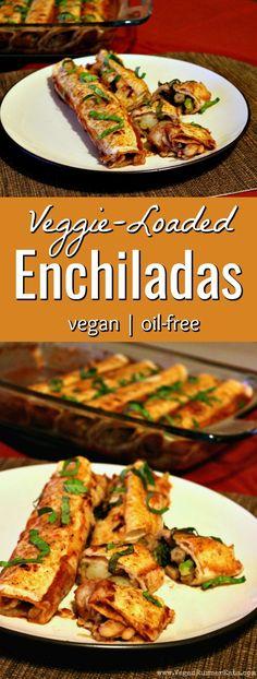 Veggie-loaded easy vegan enchiladas recipe - plant-based, vegan, oil-free enchiladas recipe Vegan Mexican Recipes, Healthy Recipes, Vegan Dinner Recipes, Whole Food Recipes, Vegetarian Recipes, Wslf Recipes, Mexican Desserts, Dinner Healthy, Chicken Recipes