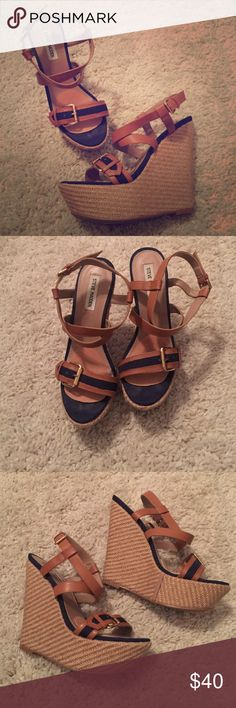Steve Madden Nautical Wedges Super cute & comfy Steve Madden wedges. Steve Madden Shoes Wedges