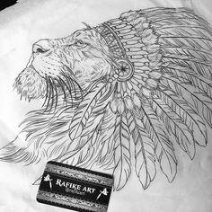 Leão com cocar feito para o José Fernando! Coragem para a primeira tattoo, logo continuamos com as agulhadas!⚡️ Agendamento pelo e-mail rafikeart@outlook.com