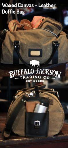 Waxed canvas duffle bag for men. Dark walnut leather trim. Rugged. Classic. By Buffalo Jackson Trading Co.