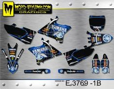 Black, white and blue full graphics kit for Yamaha YZ 250 including blue number plate backgrounds Yamaha Yz 125, Custom Design, Decals, Graphics, Kit, Bespoke Design, Tags, Charts, Graphic Design