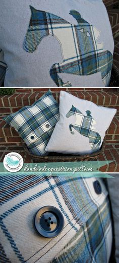 Handmade Equestrian Style Pillows...I'm pretty sure my aunt can make these! How cute!