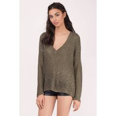 Tobi Lisette V-Neck Sweater (€21) via Polyvore featuring tops, sweaters, olive, olive sweater, olive green top, slouch sweater, army green top y slouchy v neck sweater