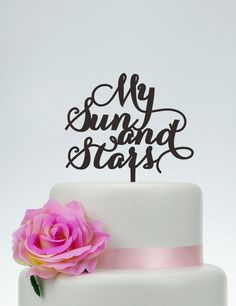 My Sun And Star Cake Topper,Custom Cake Topper,Wedding Cake Topper,Cake Decoration,Rustic Cake Topper P119