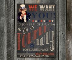 DIY Printable Retro July 4th Invitation!!  Fourth of July Invitation - 4th of July Chalkboard Invitation - Uncle Sam - We Want You - Retro - Vintage Chalkboard - Plus FREE Web Version