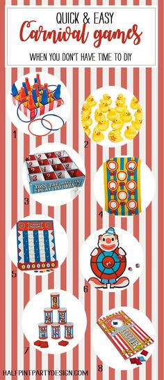 Painless Carnival Party Amusements - Parties With A Cause Have a PTA fundraiser coming up? Back to school carnival? With all the craziness that ensues Carnival Party Games, Carnival Games For Kids, Carnival Decorations, Fall Carnival, Circus Theme Party, Carnival Birthday Parties, Carnival Themes, Circus Birthday, Carnival Diy