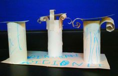 A five year old created these Doric, Ionic and Corinthian columns.