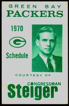 1970 GREEN BAY PACKERS CONGRESSMAN STEIGER FOOTBALL POCKET SCHEDULE FREE SHIP