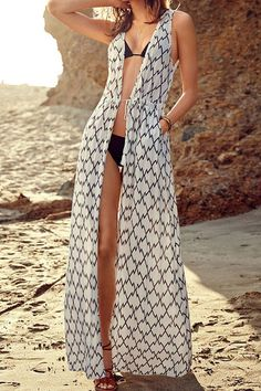 Tie-Up Plaid Sleeveless Maxi Cover-Up/ Annons