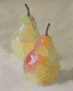 Two Bartlett Pears, 16 inches by 20 inches, December 2012 Love this. It's not all about pears. It's about paint.