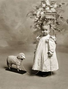 +~+~ Antique Photograph ~+~+ Little girl with lamb pull toy.: