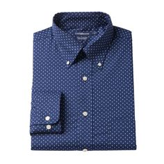 Men's Croft & Barrow® True Comfort Fitted Oxford Stretch Dress Shirt, Size: 16.5 36/37, Blue