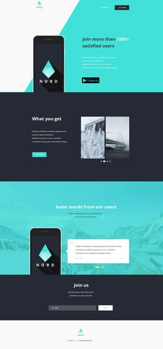Nord - Simple App Landing One Page Website Template #freebies #webtemplates #psdtemplates #responsivedesign