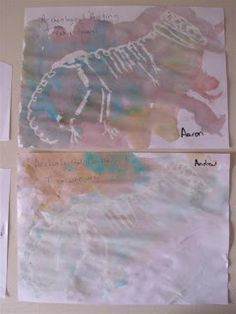 White crayon dinosaur art  Outline the template and let the kids be archaeologists and uncover the bones by watercolor painting  Or use white crayons on dinosaur rubbing plates then watercolor.