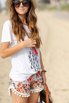 Headed to the beach? Go all out with statement shorts and a conversational tee.