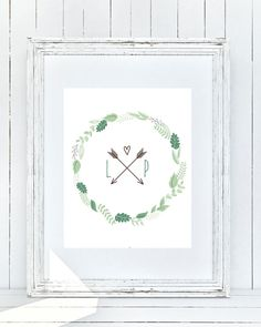Initial Art, Couples, Letter, Green Leafy Wreath, Arrows, Brown, Anniversary, Love, Present, Gray Frames Digital