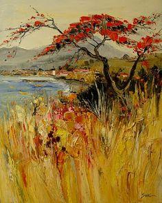 Landscape oil painting by Jean Paul Surin French Artist Art Carte, Landscape Artwork, French Artists, Acrylic Art, Love Art, Painting Inspiration, Amazing Art, Watercolor Art, Art Photography