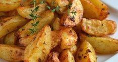 kuchnia na obcasach: Pieczone ziemniaki z piekarnika ze świeżym tymiankiem Potato Salad, Potatoes, Meat, Vegetables, Ethnic Recipes, Food, Potato, Veggies, Essen