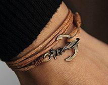 Natural Tan Leather WRAP bracelet,Nautical Jewelry - Anchor Jewelry ,Friendship bracelet leather ,Gift Idea, Friendship bracelet