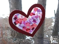 Tissue Paper Stained Glass Hearts ~ easy enough for kids to make ~ Valentine's on a budget!!