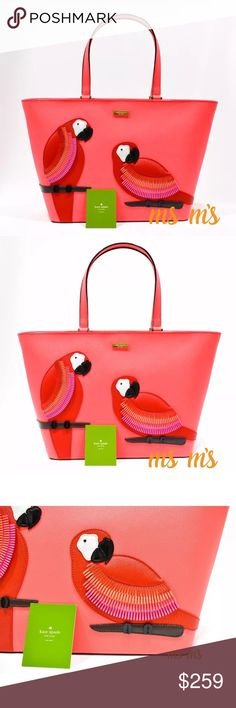 NWT Kate Spade parrot tote Material: polyurethane Color: parrot multi-color Color Disclaimer: Actual colors may vary. This is due to the fact that every computer monitor has a different capability to display colors. Gold tone hardware Double flat handles have approximately 8.25'' drop Approx: 19'' top-13''bottom(L) x 11.5''(H) x 6.5''(D) Front has 2 parrots made of patch work appliqué with beaded eyes embellishment. Inside is finished with Kate Spade signature lining, a zip pocket and 2…