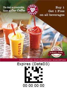 Costa Coffee - India Costa Coffee, Beverages, Coupon, Pudding, India, Breakfast, Desserts, Food, Morning Coffee